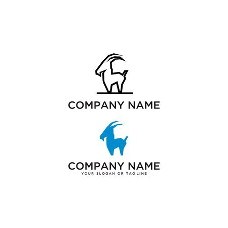 Goat logo design vector template with white background