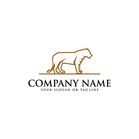 Lion logo design vector template with a white background Banque d'images - 138041359