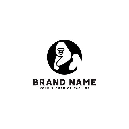 monkey logo design vector template white background good for your company