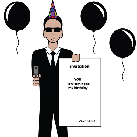 formal party: funny assassin birthday invitation card