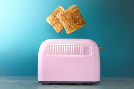 a pink toaster oven with leaping slices of fried bread on a blue background