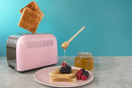 a pink toaster oven with leaping slices of fried bread on a blue background. Breakfast with honey and berries