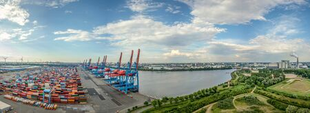 Aerialview of container terminal in the harbor of Hamburg 写真素材