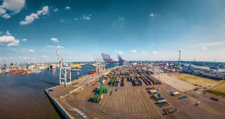 Container terminal in Hamburg in best weather conditions