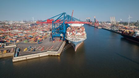 Aerialview of Container Terminal at Port of Hamburg 写真素材