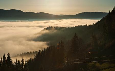 inversion: Inversion weather phenomenon at sunset