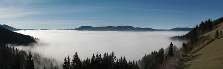 inversion: Panoramic photo of an inversion weather phenomenon