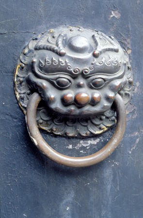 that: A handle knob that Chinese ancient times construct. Stock Photo