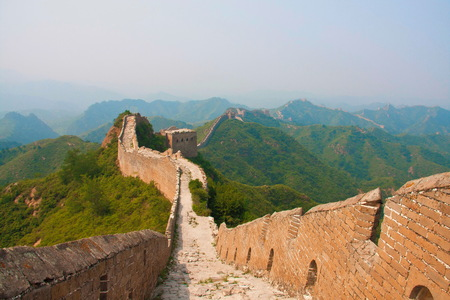 Treking and walking The Great Wall in summer time. Beijing , China
