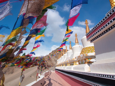 Tibetan Flags and Stupa with the wind, Leh , Ladahk, India