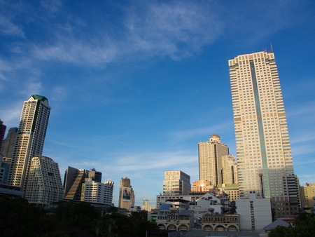 A View of State Tower with a blue sky. Bangkok, Thailand. Hang Over Movie Shoot here. Stock Photo