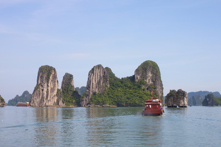 Summer Travel in Halong Bay. The Sea and Blue Sky on the Boat. Halong City, Vietnam. 2011, August 6th.