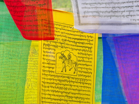 Tibetan Prayer Flag for Faith, peace, wisdom, compassion, and strength, Sikkim State in India, 15th April, 2013.