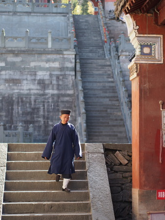 The Taoist Monk at Wudang Temple.The Origin of Chinese Taoist Martial Art called Tai Chi.  Travel in Hu Bei, China. in 2014, 16th April.