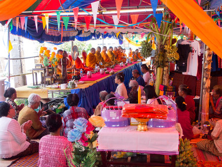Thai People and Monk in the Local Village. Buddhist Donation Event in Burirum Province, 22th April, 2018.