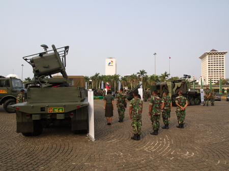 Army and Tank at TUGU MONUMEN NASIONAL. Travel in Jakarta, the Capital of Indonesia. 4th October, 2012