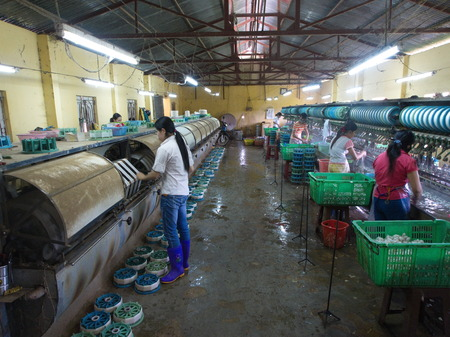 Silk Production Factory in the local village in Da Lat City. Travel in Vietnam in 2012, 5th December