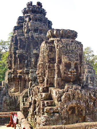 Faces of the Bayon temple in the Angkor Wat in Seam Reap City, Cambodia in 2012 , 9th  December Stok Fotoğraf