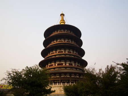 Tower in Luoyang Ruins of Sui and Tang Dynasty, Mingtang and Tiantang Scenic Area.Luoyang City, Henan Province, China, 14th October 2018.