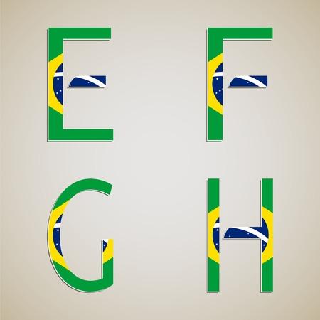 Brazil style font set. Brasil 2014 football championship. Vector