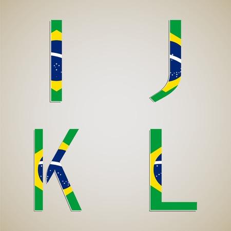 brasil: Brazil style font set. Brasil 2014 football championship.
