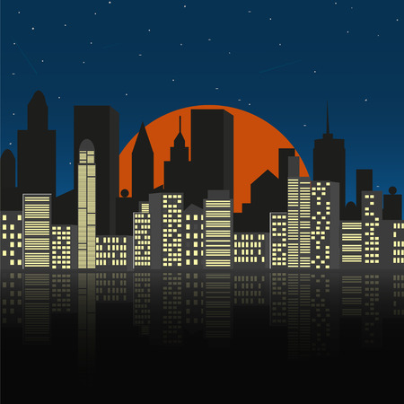 City space at night.  Illustration