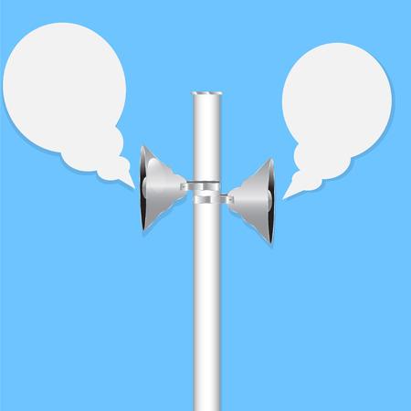 Two loudspeakers on blue background Vector