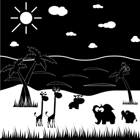 Black and white cartoon animals. Made in vector Vector