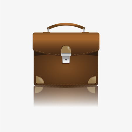 Brown briefcase on a white background Vector