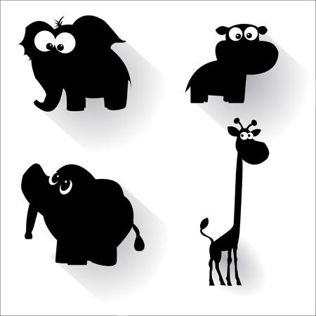 Funny cartoon animals silhouettes. Made in vector Vector