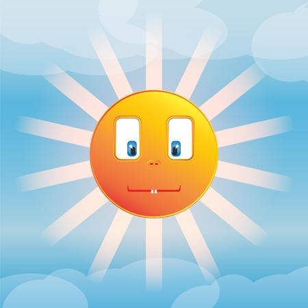 Funny sun. Made in vector Vector