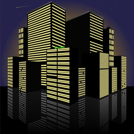 Abstract Cityscape at night  Made in vector