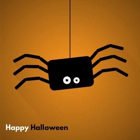 spidery: Happy Halloween. Label with spider. Made in vector Illustration