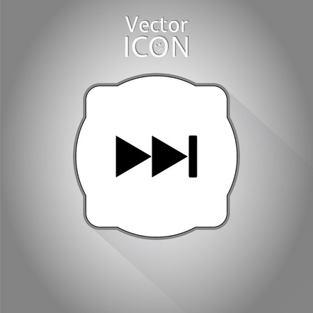Rewind icon. Media player. Flat style. Vector