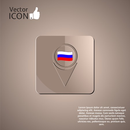 russian flag: Map Pointer Icon With Russian flag. Made in vector