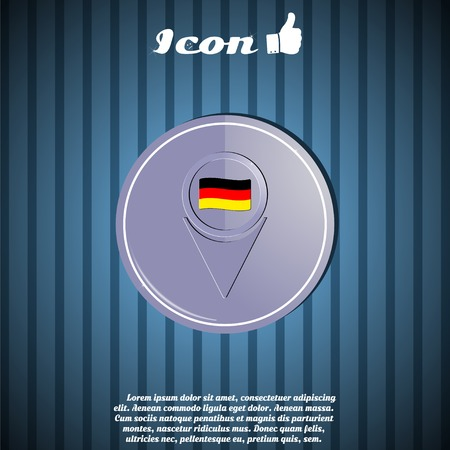 east berlin: Map pointer icon with Germany flag. Made in vector