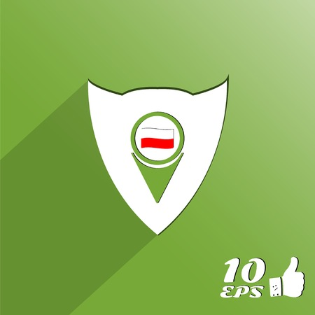 symbolize: Map pointer icon with Poland flag. Made in vector Illustration