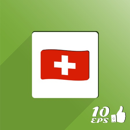 flagged: Flag of Switzerland. Flat style. Made in vector Illustration