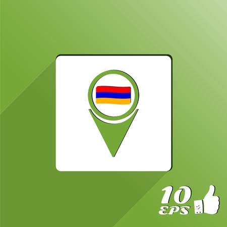 caucasus: Map pointer with flag of Armenia. Flat style. Made in vector
