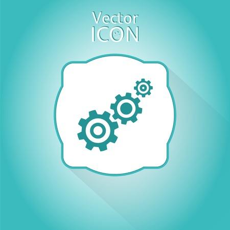 Tandrad en ontwikkeling icoon. Vlakke stijl. Gemaakt in vector
