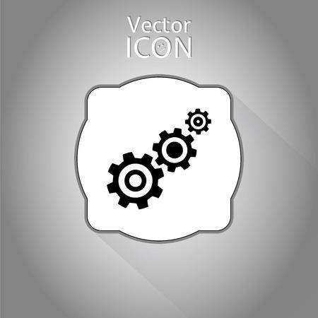 Tandrad en ontwikkeling pictogram. Vlakke stijl. Gemaakt in vector Stock Illustratie