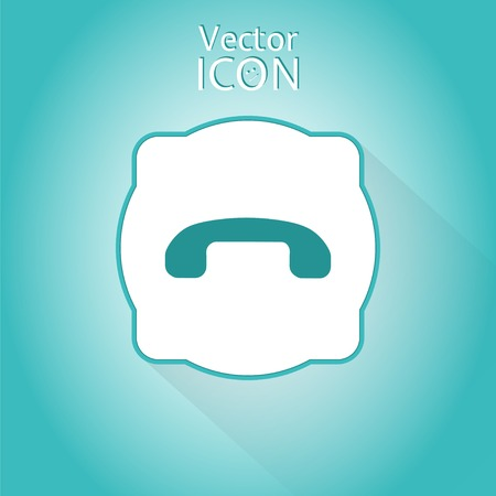 mobile voip: Call button. Phone icon. Handset icon. Flat style. Made in vector
