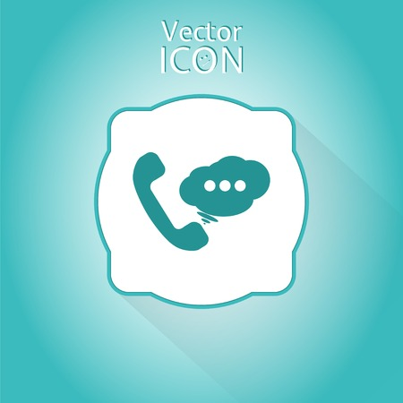 mobile voip: Call button. Phone with dialog icon. Handset icon. Flat style. Made in vector