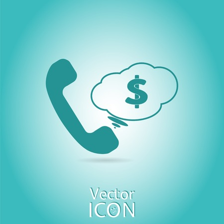 Call button. Dollar icon. Phone icon. Handset icon. Flat style. Made in vector