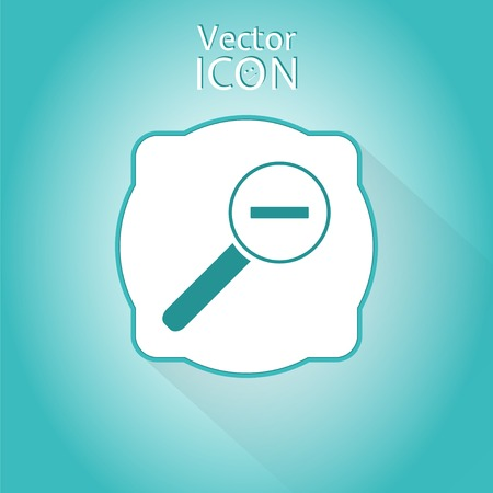 zoom in: Icono de acercar web. Lupa con la disminuci�n. Estilo Flat. Made in vector Vectores