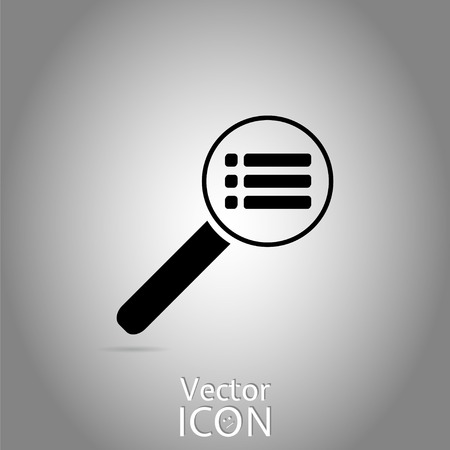 web site: Magnifier - web site menu icon. Flat style. Made in vector