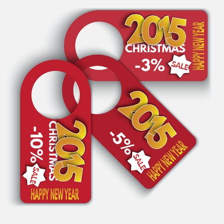 last year: Price tag discounts. Labels Sale Set. Happy new year. Made in vector Illustration