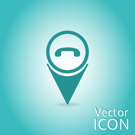 Phone icon - vector map pointer. Flat design style