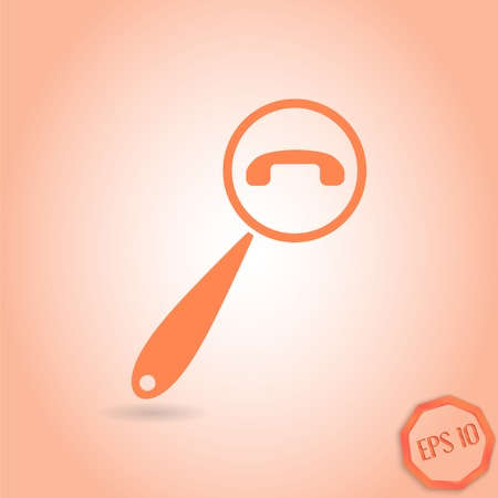 Magnifying Glass Contact Icon. Flat style. Made in vector Illustration