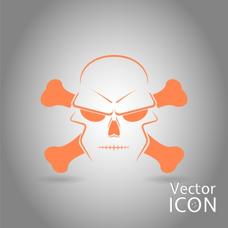 crossbones: Icon skull and crossbones - a mark of the danger warning. Made in vector